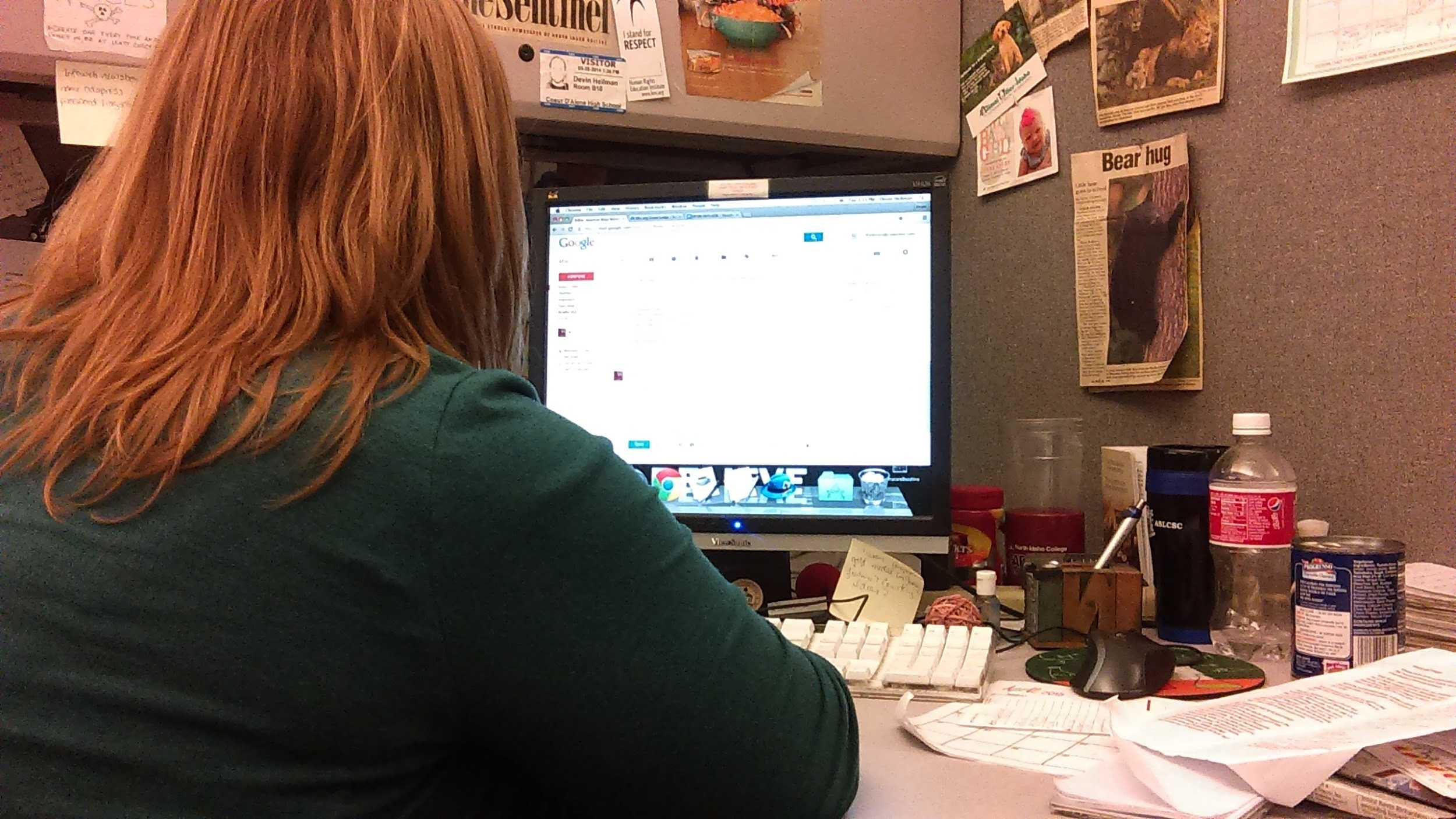 Devin working on her assignments.