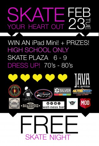 Skate Plaza Skate Night, Win an iPad Mini and Other Prizes! Tuesday, Feb. 23 from 6-9pm