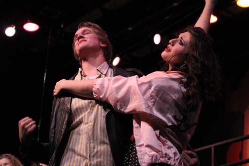 Kenickie and Rizzo (Anika Hille and Andrew Schaefer) get back together to sing and  dance together in the finale.