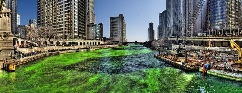 This is one of the more extreme measures that chicago takes for the celebration of St. Patricks day.