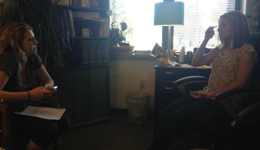 Kim Hutchins interviewing Mrs. Beebe