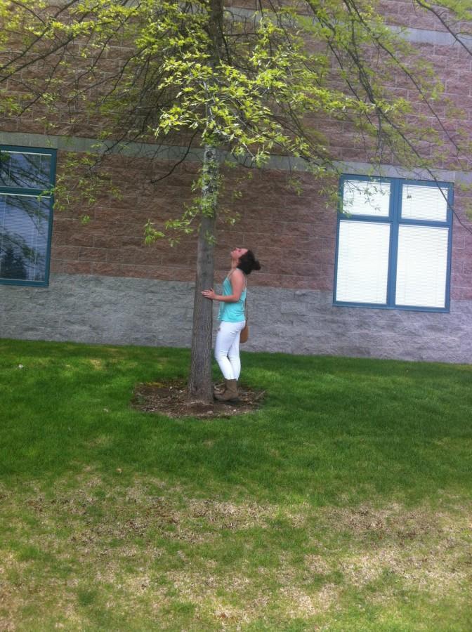 "Makenna T observing a tree.  She's probably thinking ""Yep, that's definitely a tree."""
