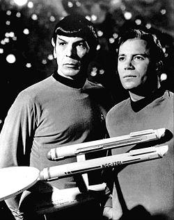 Leonard Nimoy as Spock (left).