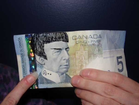 """Just one example of """"Spocking"""" a Canadian five dollar bill."""