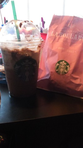 Mint Java Chip Frappuccino and a coffee cake for breakfast.