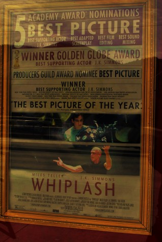 Photo taken of poster for Whiplash, a Golden Globe winner ft. JK Simmons.
