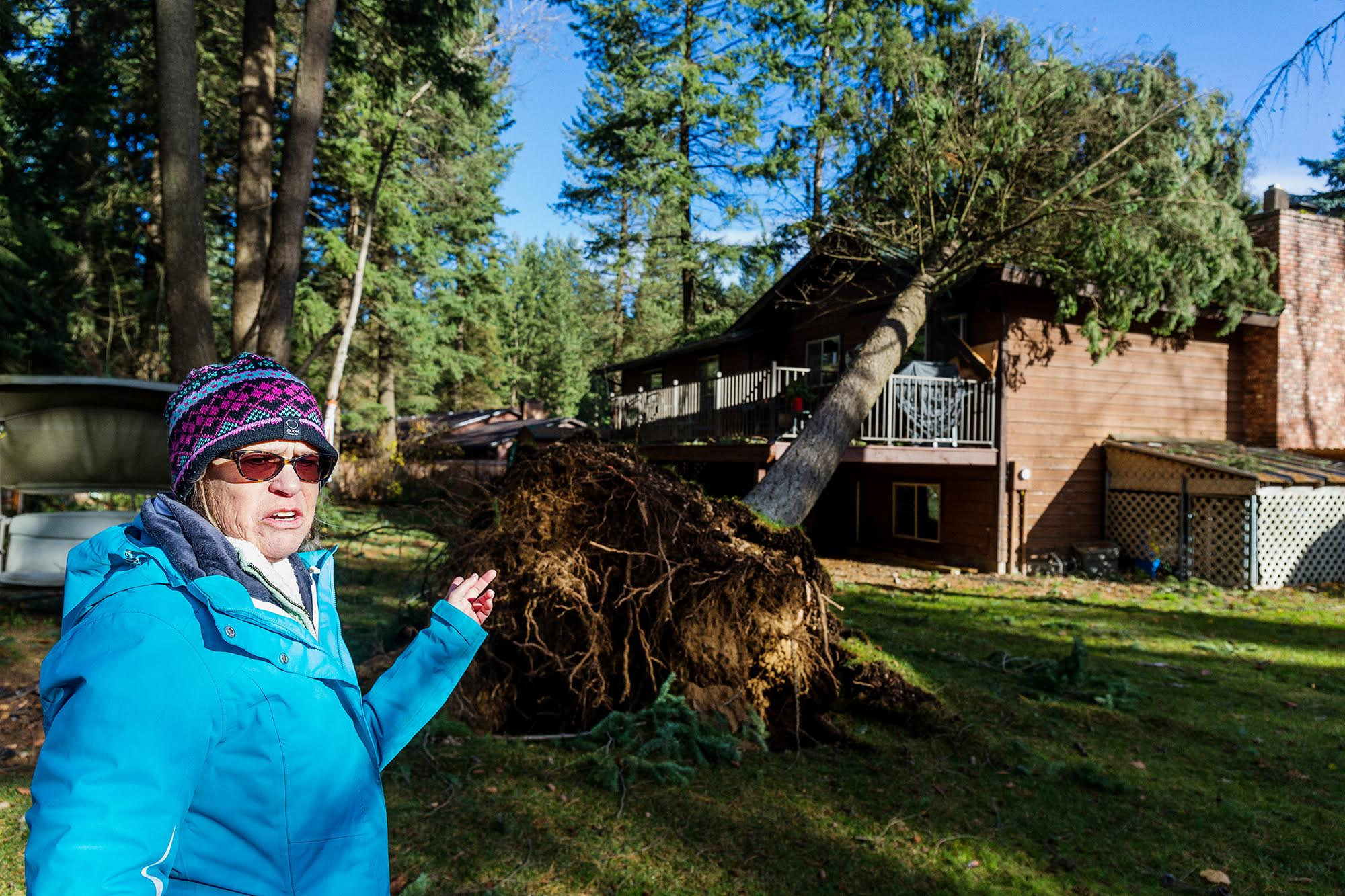 SHAWN GUST/Press Nancy Piscitelli describes the moment when a tree crashed onto her Hayden home at 12924 N. Emerald Drive.