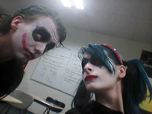 """What are heroes without villains? Nothing. Here we have Simon Nilges and Morgan Desgrosseilliers dressed as the famous villainous coupling of the Joker and Harley Quinn. """"There's too many Batman costumes for my comfort,"""" noted Morgan."""