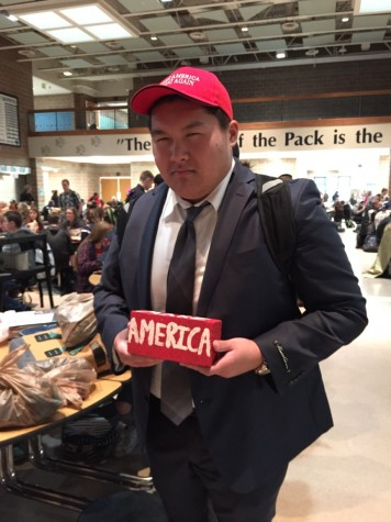 "Here you can see that Kevin Nguy is clearly determined to ""make America great again."" In this picture, he is dressed as the one-and-only Brooklyn businessman, Donald Trump."