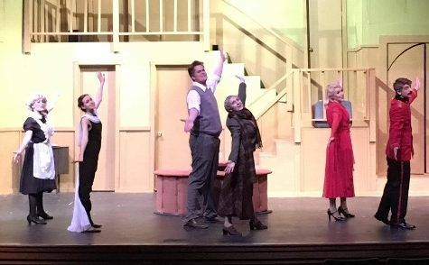 "The cast performs ""I Owe It All"", a song honoring the most famous writers of murder mystery novels. (CREDIT: Lake City Drama Department)"